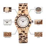 WOOD WATCH ALL WOODEN WATCHES Bobo Bird P26 Handmade Leopard Pattern All Wood Watch For Women