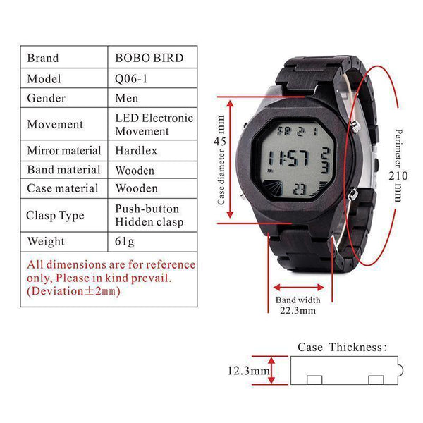 a9570e130 ... Bobo Bird Q06 Natural Handmade All Wooden Digital Watch For Men. Double  click for enlarge
