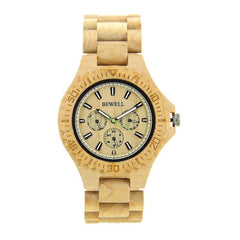 WOOD WATCH ALL WOODEN WATCHES ivory Bewell 116B Chronograph Luxury Mens All Wood Watch With Luminous Hands