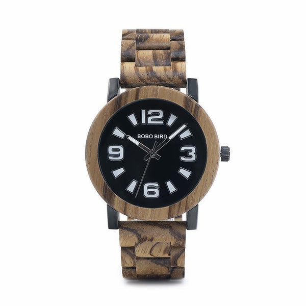 WOOD WATCH ALL WOODEN WATCHES Zebra Wooden Bobo Bird O21-22 Natural Handmade All Wooden Watch For Men