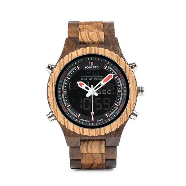 WOOD WATCH ALL WOODEN WATCHES Zebra Wooden Bobo Bird P02 Handmade Wood Watch With Dual Display For Men
