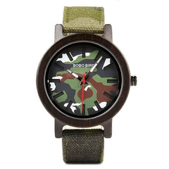 WOOD WATCH CANVAS BAND WATCHES 1 Bobo Bird R24 Army Camo Dial Canvas Band Wood Watch Men And Women