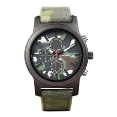 WOOD WATCH CANVAS BAND WATCHES Bobo Bird E/R17-2 Camo Dial Canvas Strap Wood Watch For Men And Women