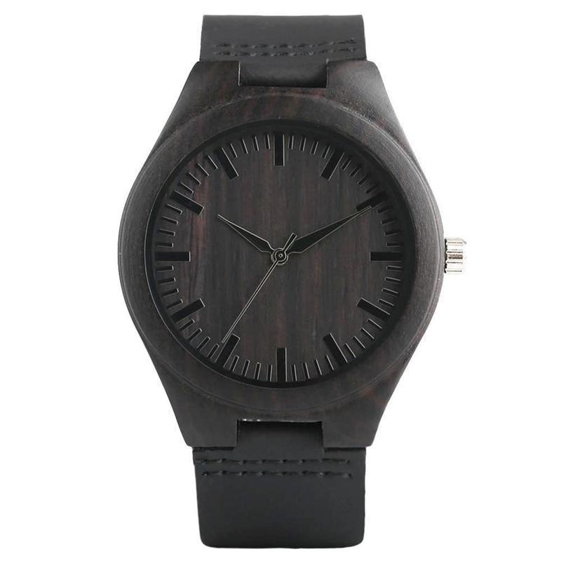 WOOD WATCH LEATHER BAND WATCHES 1 Eco-Friendly Handmade Leather Strap Black Bamboo Wood Watch Unisex