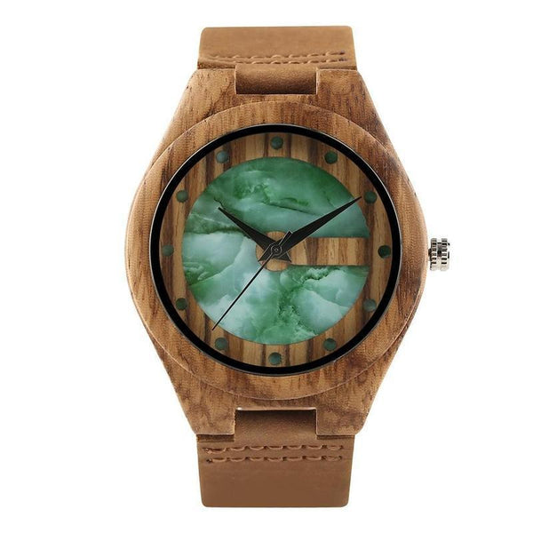 WOOD WATCH LEATHER BAND WATCHES 1 Marble Design Dial Handcrafted Leather Band Bamboo Wooden Watch Unisex