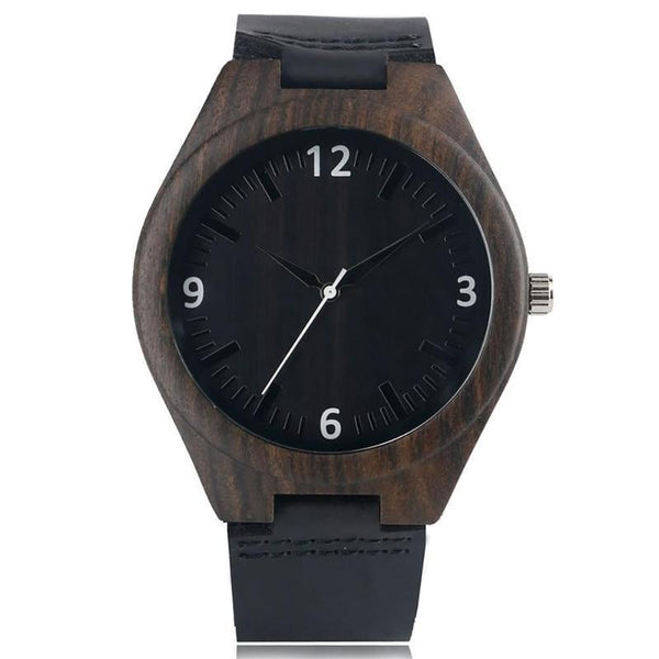 WOOD WATCH LEATHER BAND WATCHES 1 Natural Handmade Bamboo Wood Watch  With Black Learher Band For Men