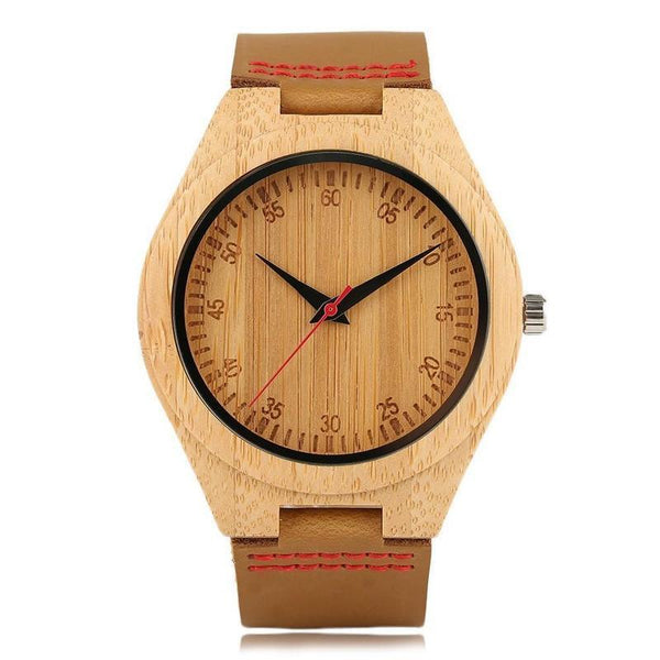 WOOD WATCH LEATHER BAND WATCHES 1 Natural Handmade Bamboo Wood Watch  With Brown Learher Band For Men