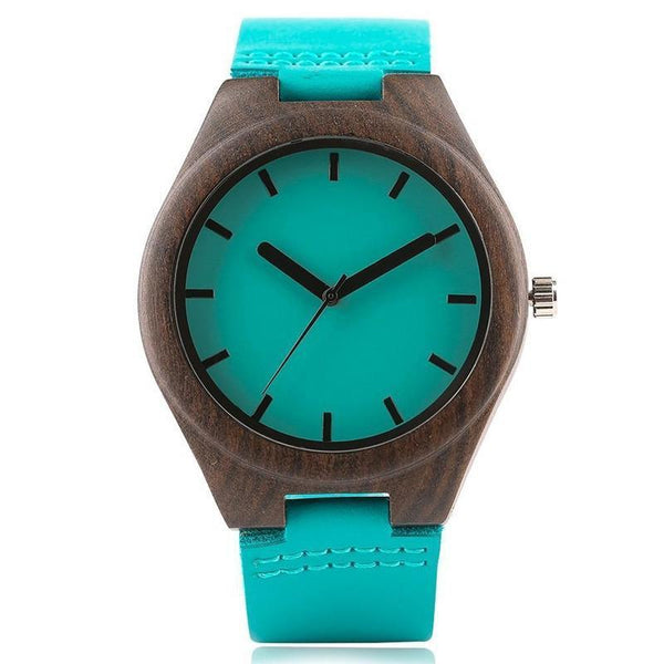 WOOD WATCH LEATHER BAND WATCHES 1 Natural Handmade Sandalwood Watch  With Turquoise Leather Band For Men