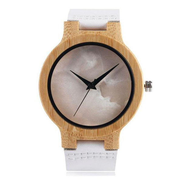 WOOD WATCH LEATHER BAND WATCHES 1 Yisuya W24 Marble Dial Handcrafted Leather Strap Wood Watch For Ladies