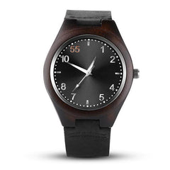 WOOD WATCH LEATHER BAND WATCHES Black Casual Mens Wood Watch With Leather Band Eco-Friendly Handcrafted
