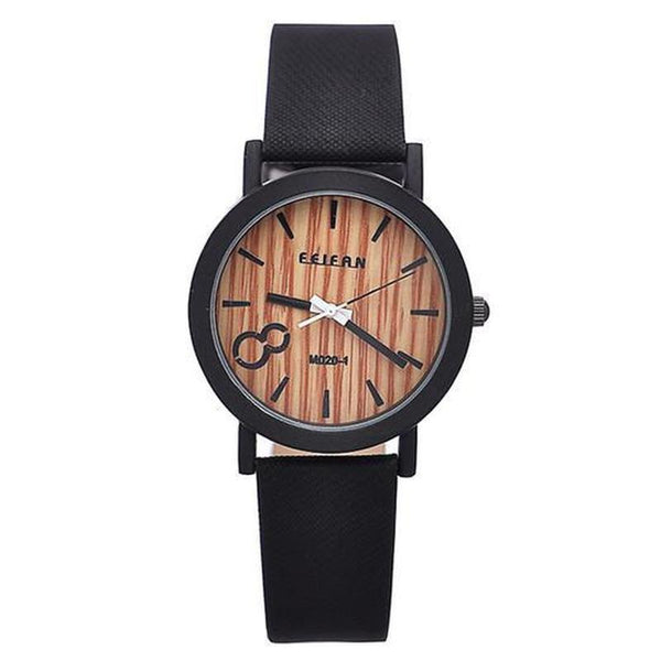 WOOD WATCH LEATHER BAND WATCHES Black Feifan Natural Quartz Wood Watch With Black Learher Band For Men