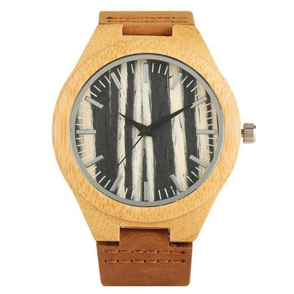 WOOD WATCH LEATHER BAND WATCHES Black Yisuya W3466 Bamboo Wood Watch With Leather Band For Men And Women