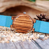 WOOD WATCH LEATHER BAND WATCHES Bobo Bird C28 Casual Handmade Blue Leather Band Wood Watch For Lovers