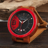 WOOD WATCH LEATHER BAND WATCHES Bobo Bird iQ20 Leather Band Wood Watch With Hardlex Window Unisex