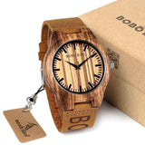 WOOD WATCH LEATHER BAND WATCHES Bobo Bird O30 Zebrawood Leather Band Wood Watch For Men