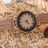 WOOD WATCH LEATHER BAND WATCHES Bobo Bird P30 Natural Leather Band Wooden Watch With Analogue Display