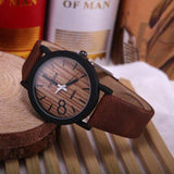 WOOD WATCH LEATHER BAND WATCHES Brown Feifan Natural Quartz Wood Watch With Black Learher Band For Men