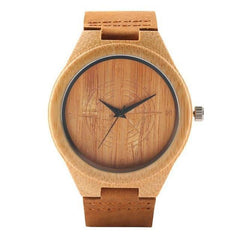 WOOD WATCH LEATHER BAND WATCHES Brown Yisuya W3464 Bamboo Wood Watch With Leather Strap For Men And Women