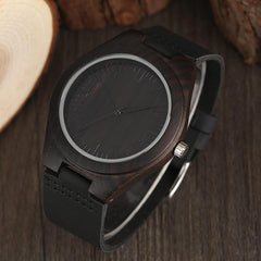 WOOD WATCH LEATHER BAND WATCHES Eco-Friendly Handmade Leather Strap Black Bamboo Wood Watch Unisex