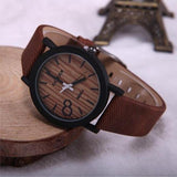 WOOD WATCH LEATHER BAND WATCHES Feifan Natural Quartz Wood Watch With Black Learher Band For Men