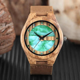 WOOD WATCH LEATHER BAND WATCHES Marble Design Dial Handcrafted Leather Band Bamboo Wooden Watch Unisex