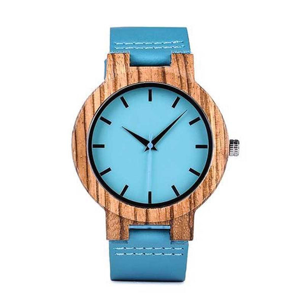WOOD WATCH LEATHER BAND WATCHES Men size Bobo Bird C28 Casual Handmade Blue Leather Band Wood Watch For Lovers