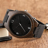WOOD WATCH LEATHER BAND WATCHES Natural Handmade Bamboo Wood Watch  With Black Learher Band For Men