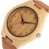 WOOD WATCH LEATHER BAND WATCHES Natural Handmade Bamboo Wood Watch  With Brown Learher Band For Men