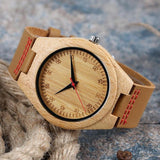 Natural Handmade Bamboo Wood Watch With Brown Learher Band For Men-LEATHER BAND WATCHES-1-WoodWatchBox.com