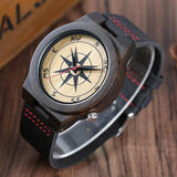 WOOD WATCH LEATHER BAND WATCHES Natural Handmade Bamboo Wooden Watch With Compass Design Black For Men