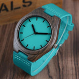 WOOD WATCH LEATHER BAND WATCHES Natural Handmade Sandalwood Watch  With Turquoise Leather Band For Men