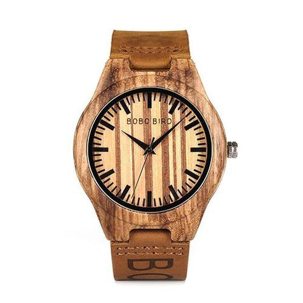 WOOD WATCH LEATHER BAND WATCHES O301 Bobo Bird O30 Zebrawood Leather Band Wood Watch For Men
