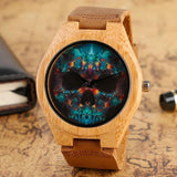 WOOD WATCH LEATHER BAND WATCHES Skull Design Natural Handmade Leather Band Bamboo Wood Watch Unisex