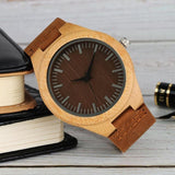 WOOD WATCH LEATHER BAND WATCHES Yisuya W3466 Bamboo Wood Watch With Leather Band For Men And Women
