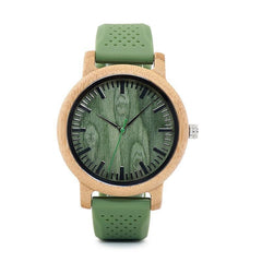 WOOD WATCH SILICONE BAND WATCHES 1 Bobo Bird B06 Handmade Silicone Band Bamboo Wood Watch Unisex