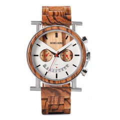WOOD WATCH STAINLESS STEEL WATCHES 01 Bobo Bird R06 Zebrawood Stainless Steel Wood Watch Great Gift For Men