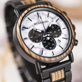 WOOD WATCH STAINLESS STEEL WATCHES Bobo Bird P09 Luxury Stainless Steel Wooden Watch Great Gift For Men