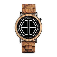WOOD WATCH STAINLESS STEEL WATCHES Bobo Bird P13 Led Time Display Stainless Steel Wood Watches For Men