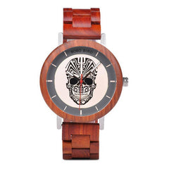 WOOD WATCH STAINLESS STEEL WATCHES Bobo Bird Q12 Skull Design Stainless Steel Wood Watch For Men