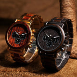 WOOD WATCH STAINLESS STEEL WATCHES Bobo Bird Q26 Stainless Steel Wood Watch With Date Display For Men