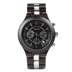 WOOD WATCH STAINLESS STEEL WATCHES Bobo Bird R22-1 Ebony Handcrafted Stainless Steel Wood Watch For Men