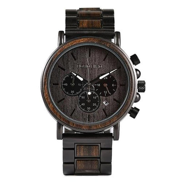 WOOD WATCH STAINLESS STEEL WATCHES Q26-1 Bobo Bird Q26 Stainless Steel Wood Watch With Date Display For Men