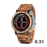 WOOD WATCH STAINLESS STEEL WATCHES Red Bobo Bird P13 Led Time Display Stainless Steel Wood Watches For Men