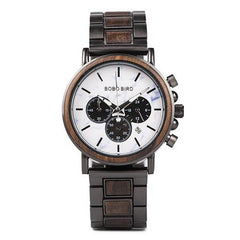 WOOD WATCH STAINLESS STEEL WATCHES W-P09-5 Bobo Bird P09 Luxury Stainless Steel Wooden Watch Great Gift For Men