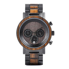 WOOD WATCH STAINLESS STEEL WATCHES W-R01-3 Bobo Bird R01 Waterproof Stainless Steel Wood Watch For Men