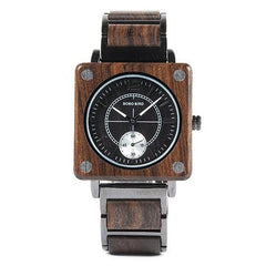 WOOD WATCH STAINLESS STEEL WATCHES W-R14-1 Bobo Bird R12-14 Rectangular Stainless Steel Wood Watches For Couples