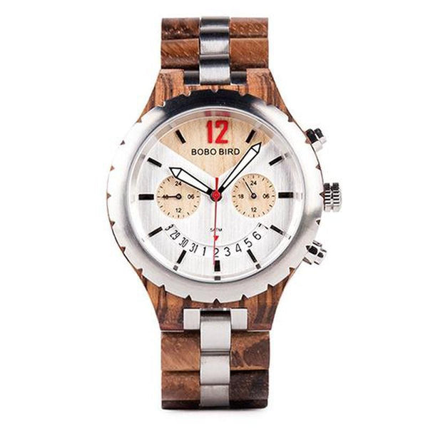 WOOD WATCH STAINLESS STEEL WATCHES Zebrawood 43mm Bobo Bird Q28 Elegant Stainless Steel Wood Watch Great Gift For Men
