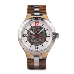 WOOD WATCH STAINLESS STEEL WATCHES Zebrawood Bobo Bird Q29 Waterproof Stainless Steel Mechanical Wood Watch For Men