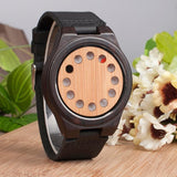 WoodWatchBox.com ALL WOOD WATCHES A01 color band Bobo Bird CD8 Mens Natural Wood Wristwatches Bamboo Dial with 12 Holes