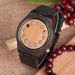 WoodWatchBox.com ALL WOOD WATCHES A01colorband / China Bobo Bird CD8 Mens Wood Wristwatches Bamboo Dial with 12 Holes